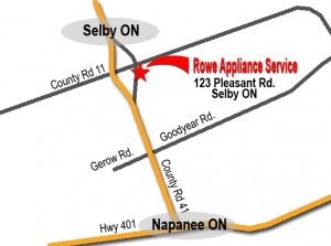 Rowe Appliance Service map- Kingston, Belleville, Napanee copy